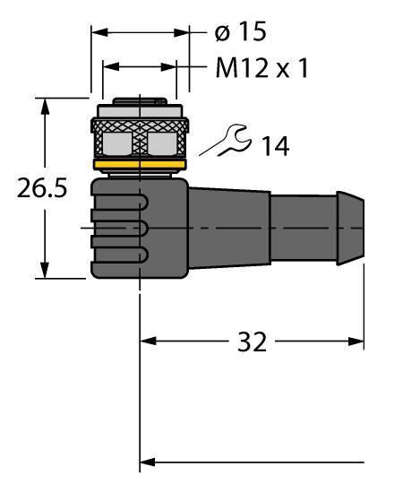 Turck WKC4 4T-2/TEL (6625025) M12 sensor cable, angled, female, 2m, PVC