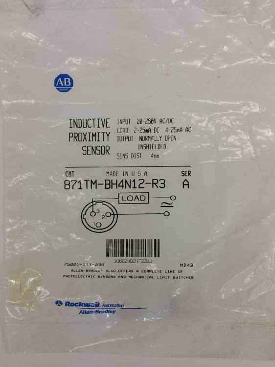 Allen Bradley 871TM-BH4N12-R3 Inductive sensor, M12, AC/DC 2-wire PLC  Interfacer, Normally open, AC micro plug
