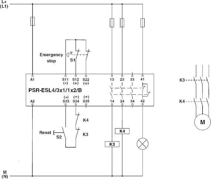 phoenix contact 2981059 psr-scp- 24uc/esl4/3x1/1x2/b circuit diagram  two-channel e-stop monitoring