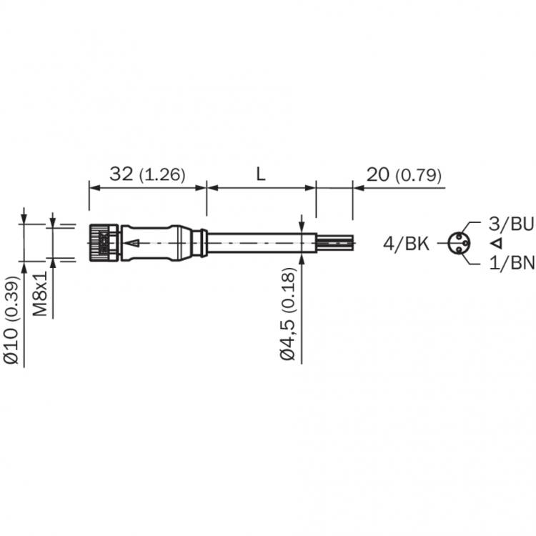 sick female connector, m8, 3-pin, straight dimensions